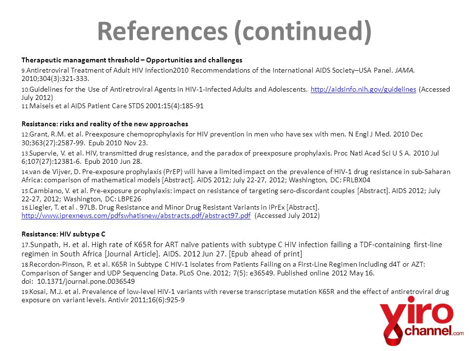 References (continued) Therapeutic management threshold – Opportunities and challenges 9.