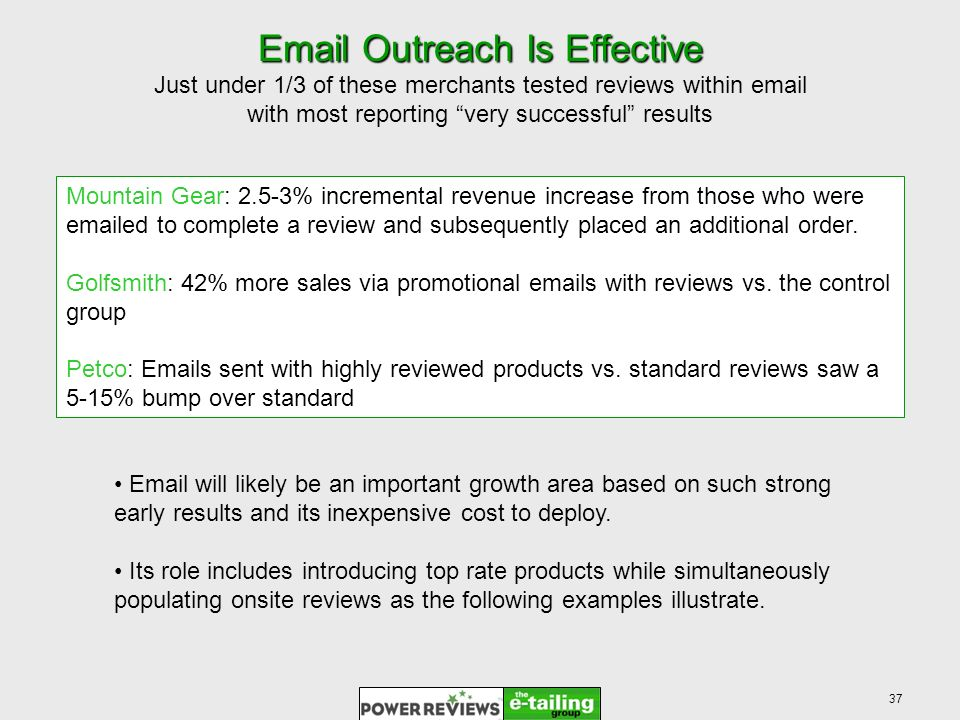 37  Outreach Is Effective  Outreach Is Effective Just under 1/3 of these merchants tested reviews within  with most reporting very successful results Mountain Gear: 2.5-3% incremental revenue increase from those who were  ed to complete a review and subsequently placed an additional order.