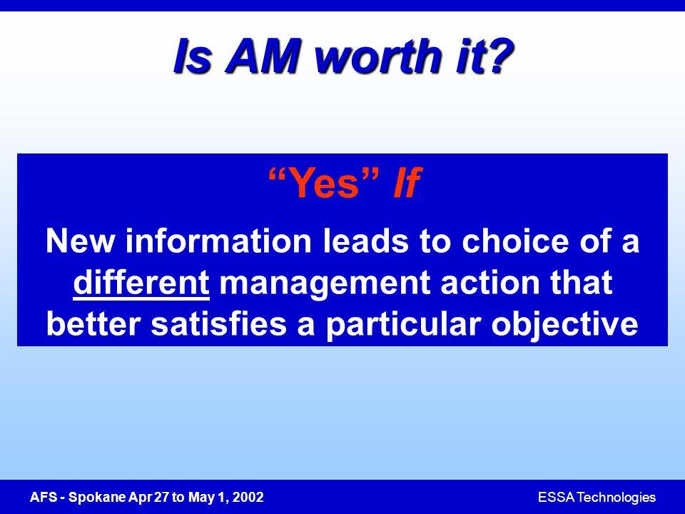 AFS - Spokane Apr 27 to May 1, 2002ESSA Technologies Is AM worth it.