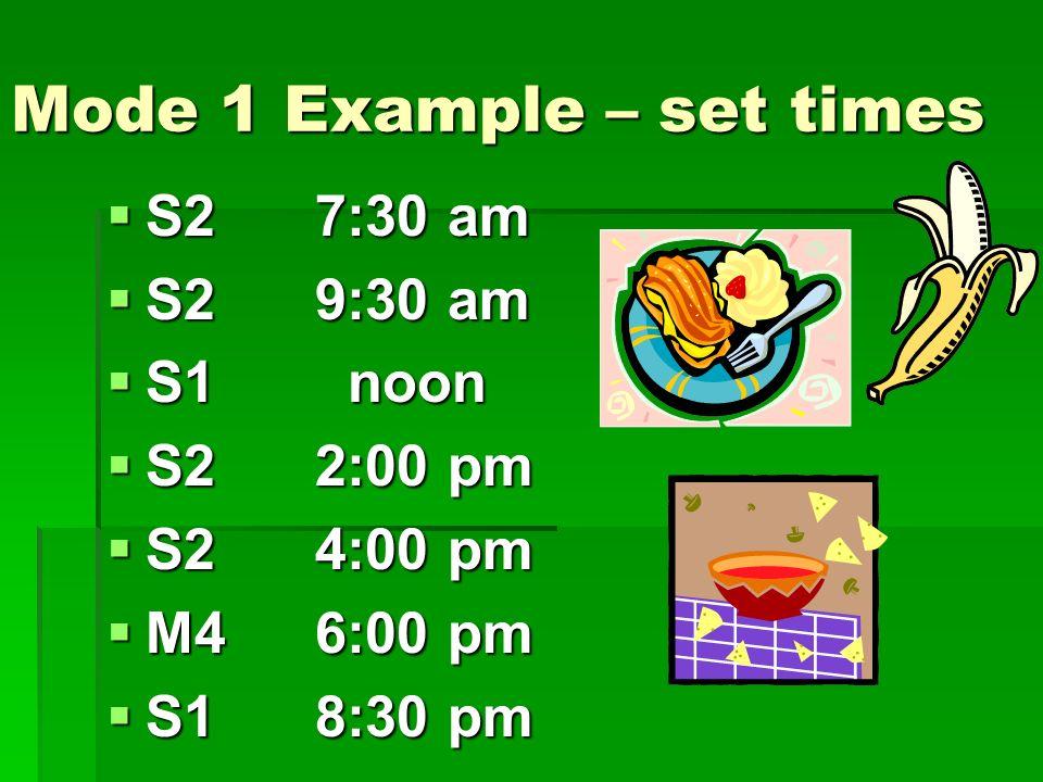 Mode 1 Example – set times S27:30 am S27:30 am S29:30 am S29:30 am S1 noon S1 noon S22:00 pm S22:00 pm S24:00 pm S24:00 pm M46:00 pm M46:00 pm S18:30