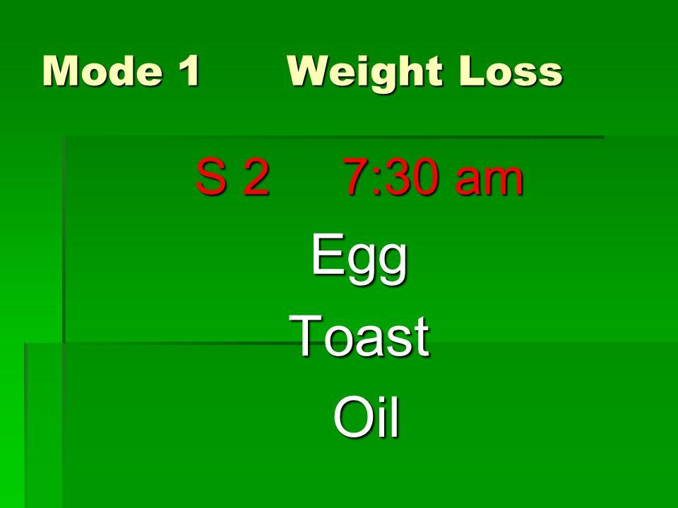 Mode 1 Weight Loss S 2 7:30 am EggToast Oil Oil