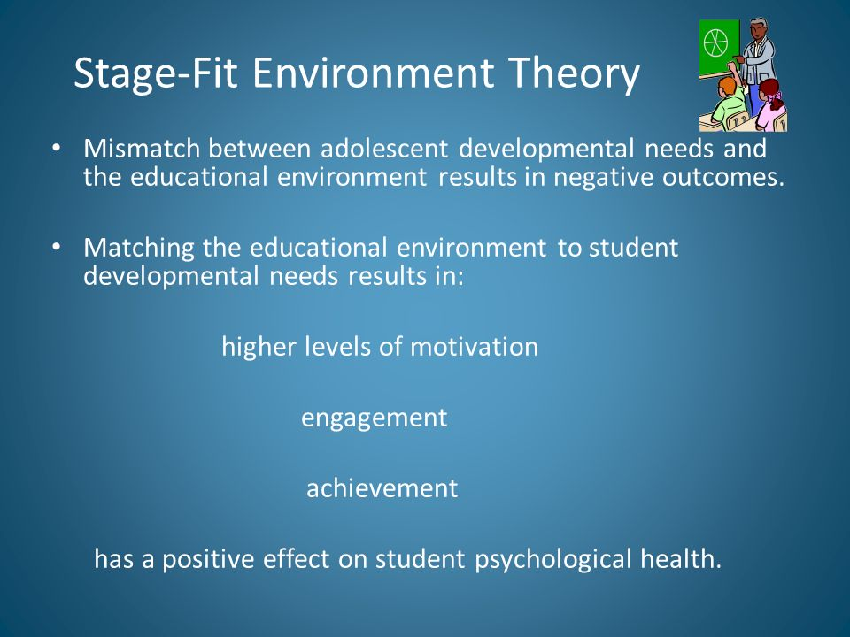 Stage-Fit Environment Theory Mismatch between adolescent developmental needs and the educational environment results in negative outcomes.