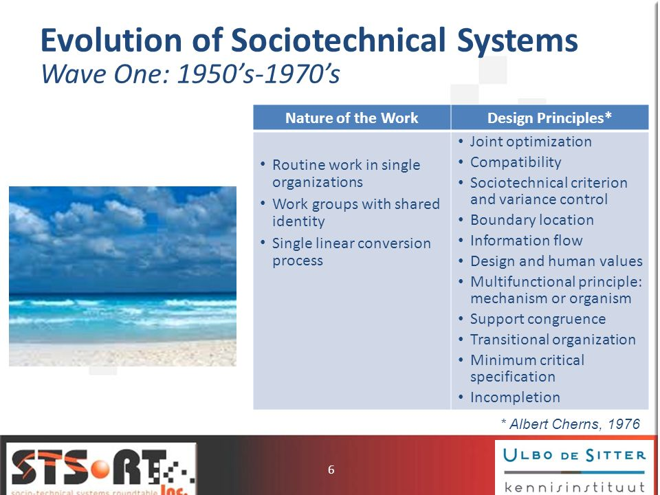 Evolution of Sociotechnical Systems Wave Two: 1970s-1990s Nature of the WorkDesign Principles** Non-routine face-to- face knowledge work in single organizations Individual performers with specialized expertise Multiple, concurrent nonlinear conversion processes Joint optimization Self-design by the members of the unit being changed Specify only those things that must be defined allowing for ongoing adaptation Multi-functionality and redundancy of functions Iterative and open- ended design process * Cal Pava, 1983 7
