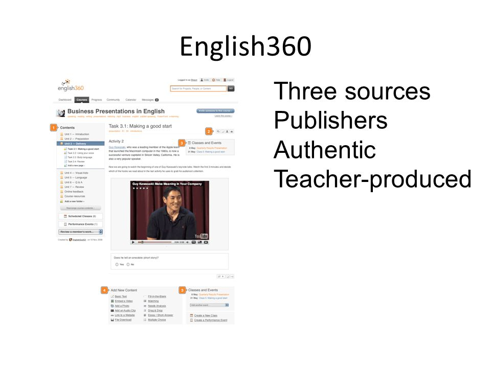 English360 Three sources Publishers Authentic Teacher-produced