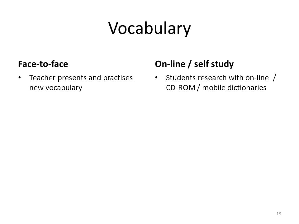 Vocabulary Face-to-face Teacher presents and practises new vocabulary On-line / self study Students research with on-line / CD-ROM / mobile dictionaries 13