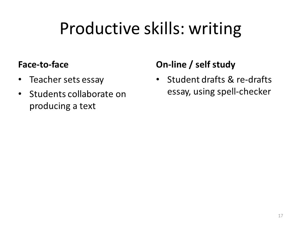 Productive skills: writing Face-to-face Teacher sets essay Students collaborate on producing a text On-line / self study Student drafts & re-drafts essay, using spell-checker 17