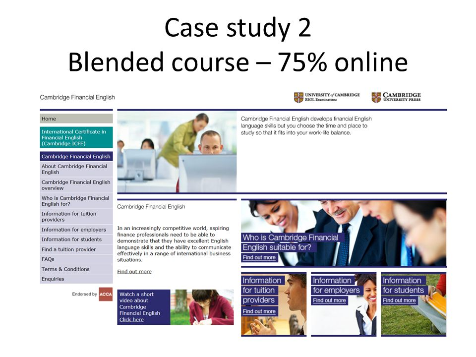 Case study 2 Blended course – 75% online