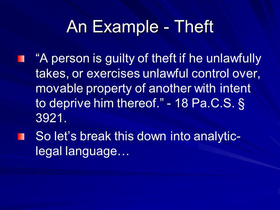 An Example - Theft A person is guilty of theft if he unlawfully takes, or exercises unlawful control over, movable property of another with intent to