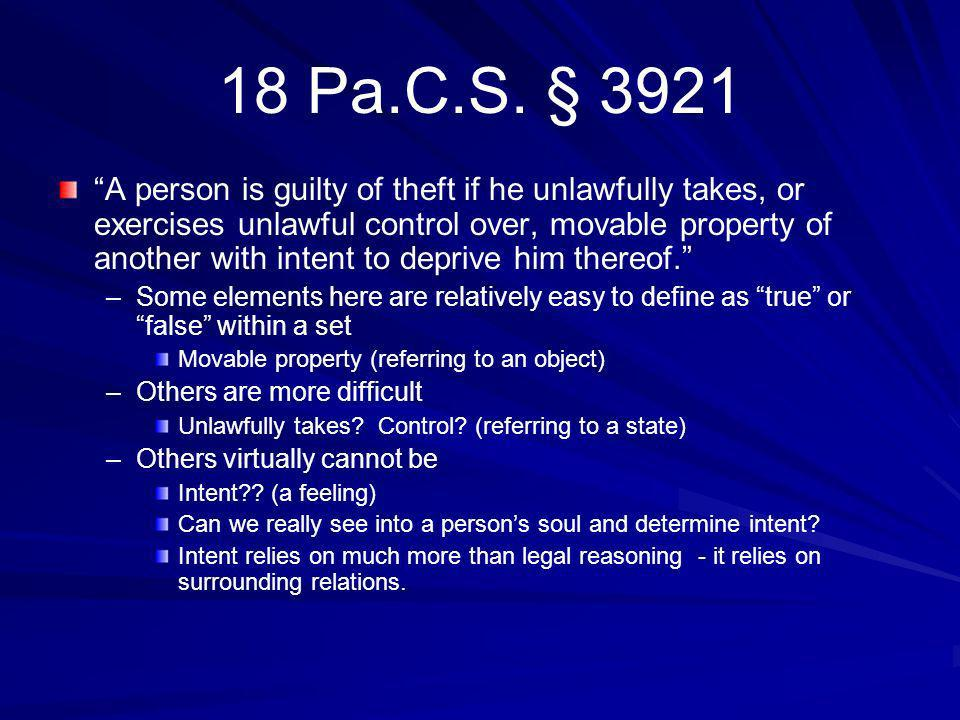 18 Pa.C.S. § 3921 A person is guilty of theft if he unlawfully takes, or exercises unlawful control over, movable property of another with intent to d