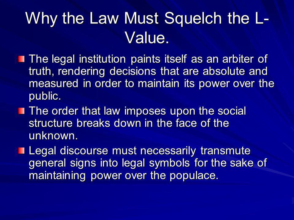 Why the Law Must Squelch the L- Value. The legal institution paints itself as an arbiter of truth, rendering decisions that are absolute and measured