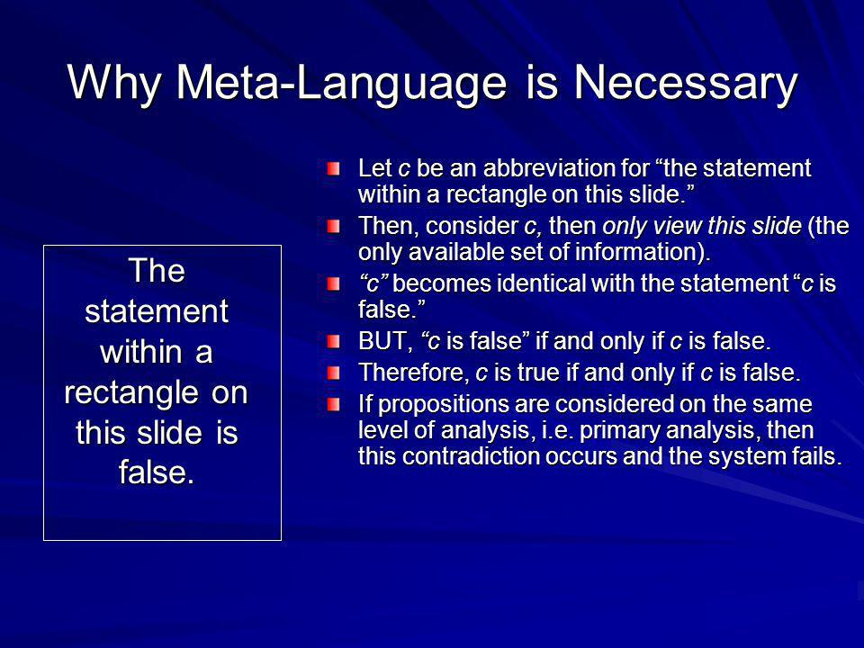 Why Meta-Language is Necessary The statement within a rectangle on this slide is false. Let c be an abbreviation for the statement within a rectangle