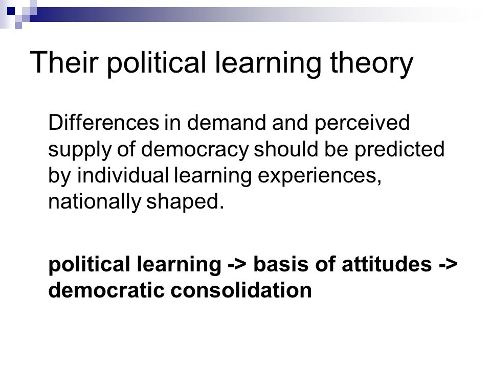 Their political learning theory Differences in demand and perceived supply of democracy should be predicted by individual learning experiences, nation