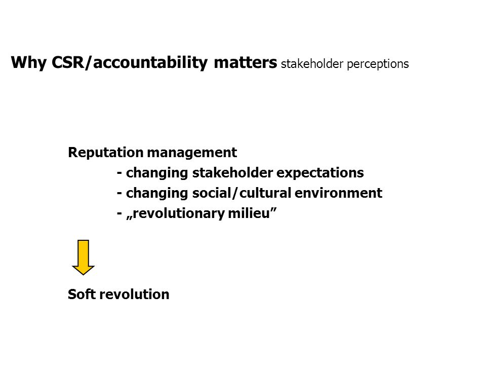 Why CSR/accountability matters stakeholder perceptions Reputation management - changing stakeholder expectations - changing social/cultural environmen