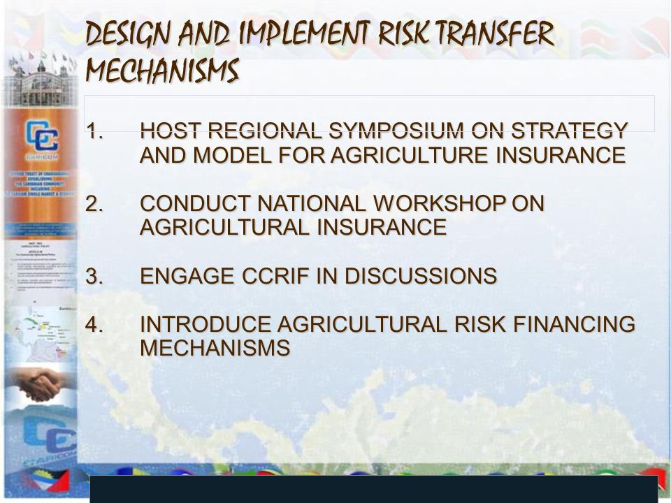 DESIGN AND IMPLEMENT RISK TRANSFER MECHANISMS 1.HOST REGIONAL SYMPOSIUM ON STRATEGY AND MODEL FOR AGRICULTURE INSURANCE 2.CONDUCT NATIONAL WORKSHOP ON