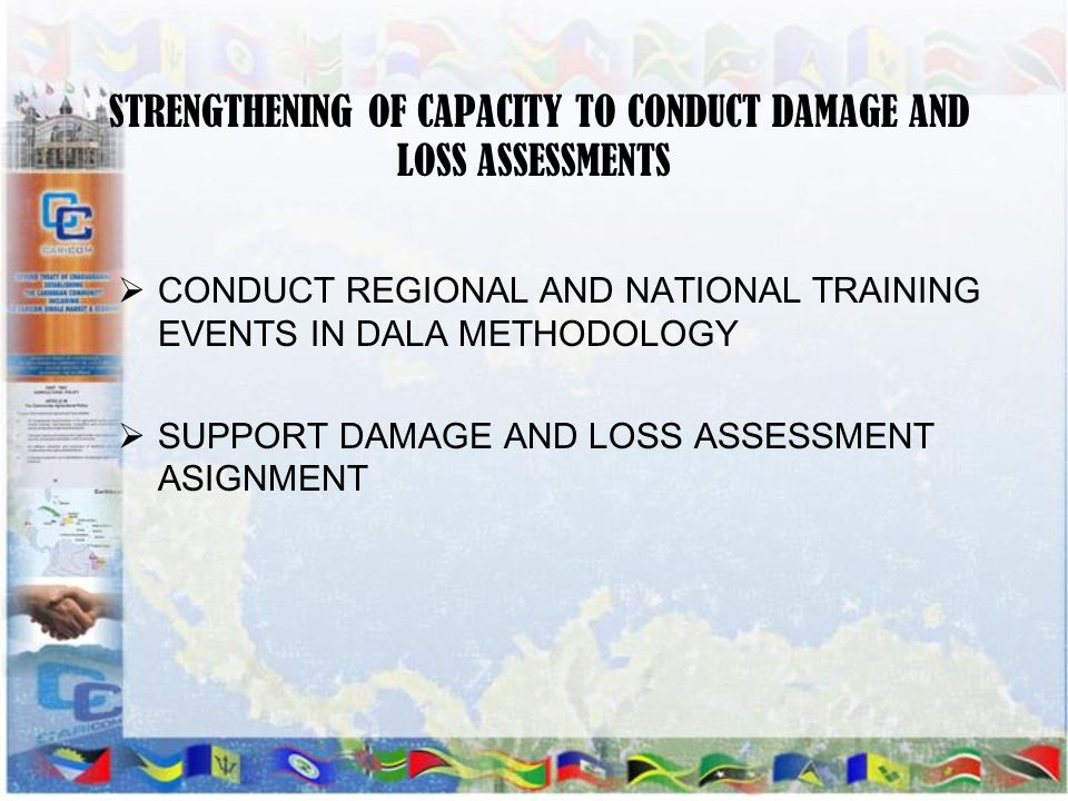 STRENGTHENING OF CAPACITY TO CONDUCT DAMAGE AND LOSS ASSESSMENTS CONDUCT REGIONAL AND NATIONAL TRAINING EVENTS IN DALA METHODOLOGY SUPPORT DAMAGE AND