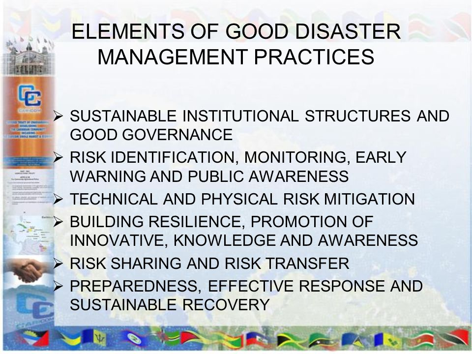 ELEMENTS OF GOOD DISASTER MANAGEMENT PRACTICES SUSTAINABLE INSTITUTIONAL STRUCTURES AND GOOD GOVERNANCE RISK IDENTIFICATION, MONITORING, EARLY WARNING