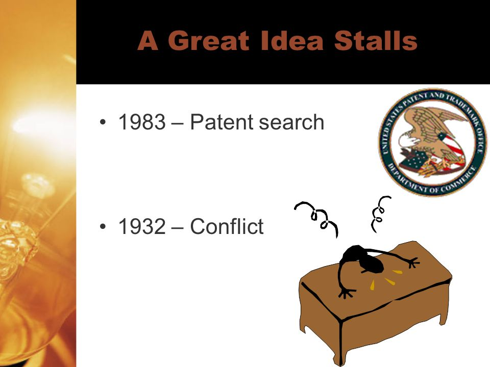 A Great Idea Stalls 1983 – Patent search 1932 – Conflict