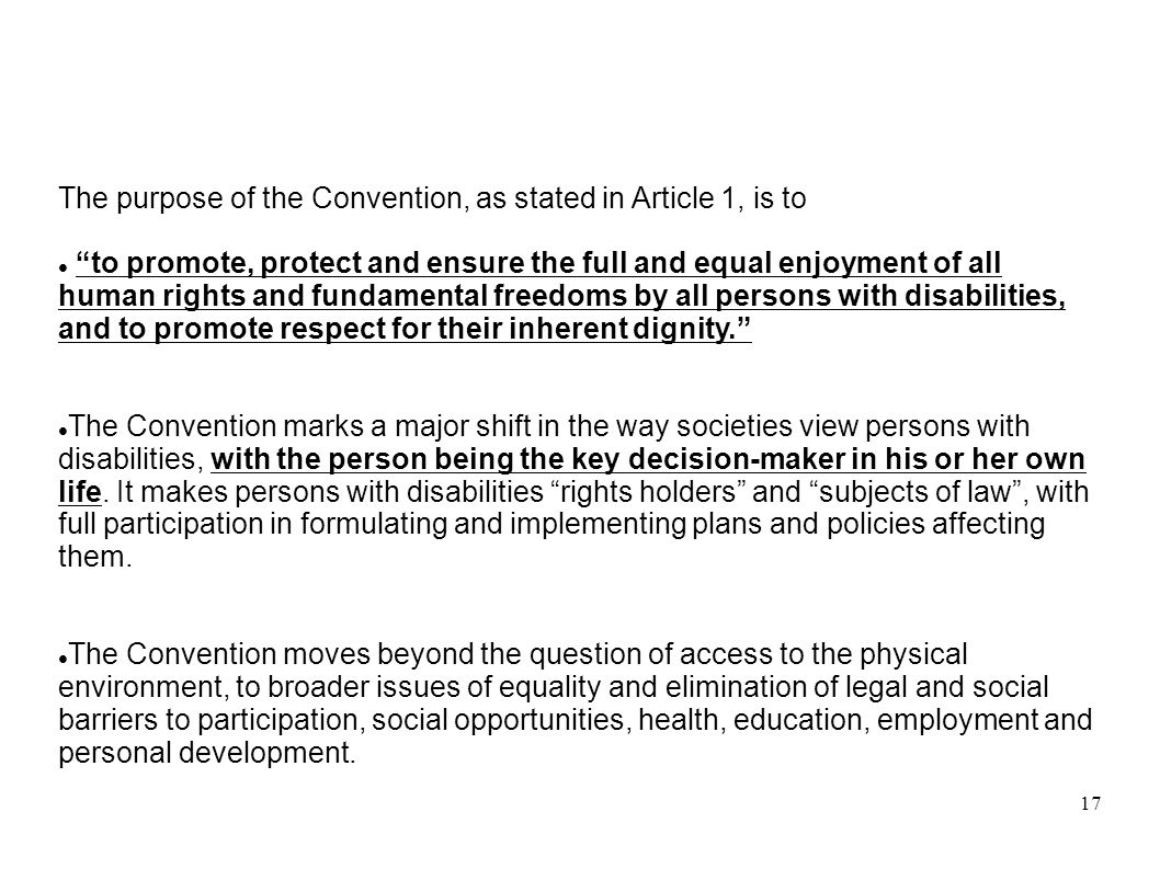17 The purpose of the Convention, as stated in Article 1, is to to promote, protect and ensure the full and equal enjoyment of all human rights and fu