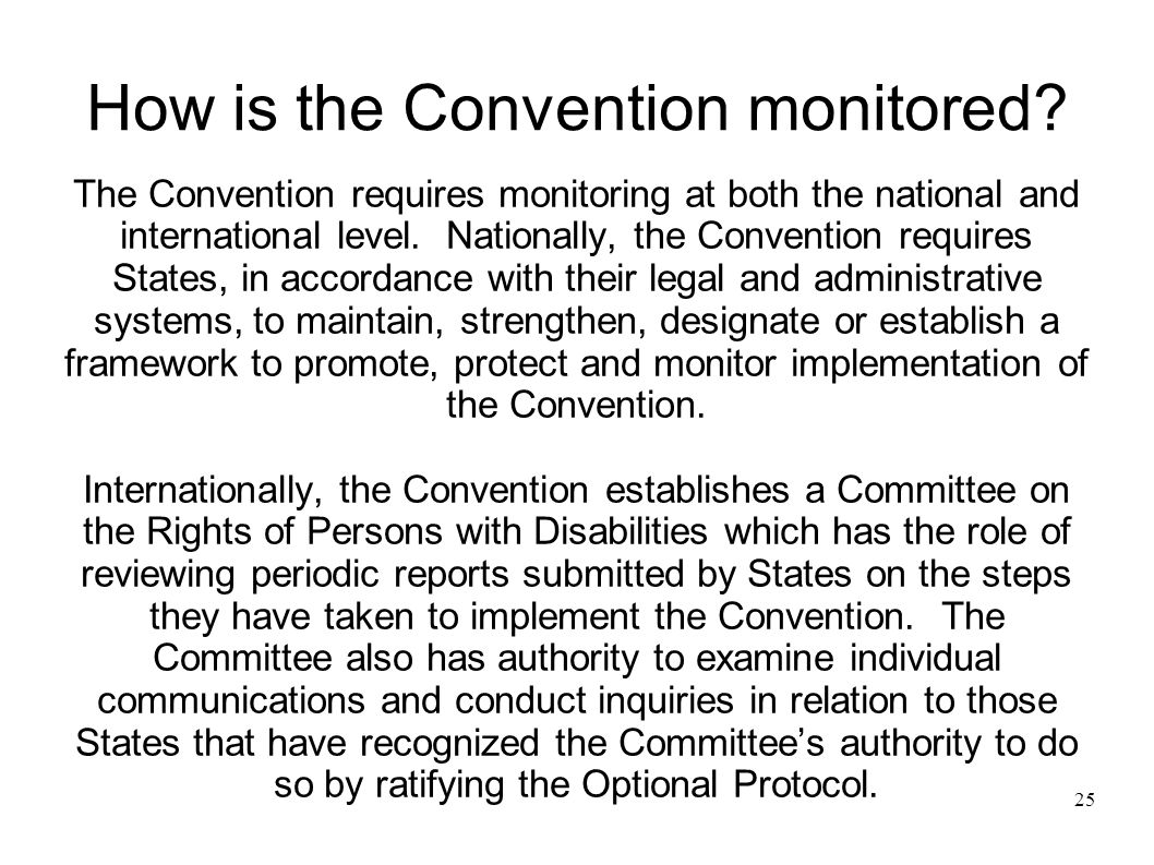 25 How is the Convention monitored.