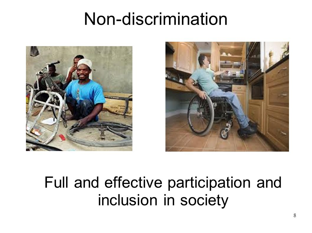8 Full and effective participation and inclusion in society Non-discrimination