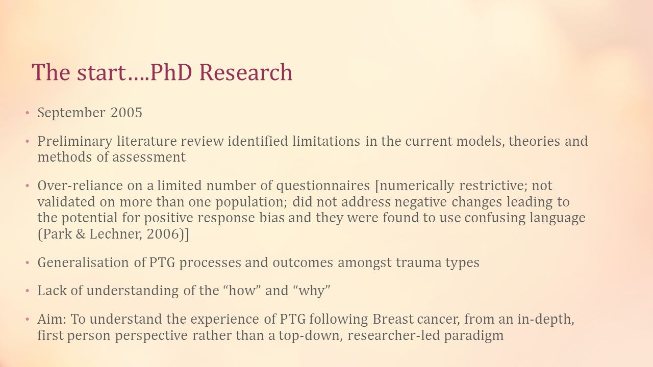 The start….PhD Research September 2005 Preliminary literature review identified limitations in the current models, theories and methods of assessment