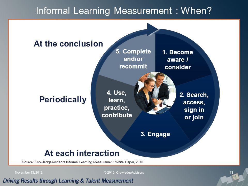 Informal Learning Measurement : When. 13November 13, 2013© 2010, KnowledgeAdvisors 1.