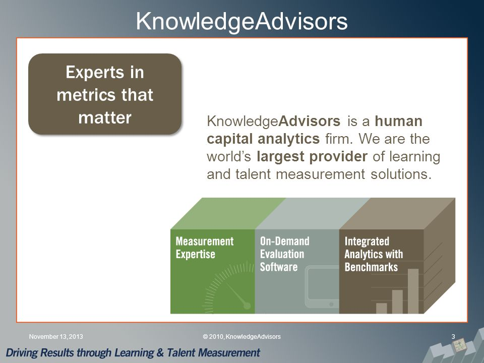 Recommendations Define the scope of the informal learning that needs to be measured Select the right data collection tools Determine appropriate timing Leverage available systems (e.g., MTM) Seek guidance (e.g., from KnowledgeAdvisors) November 13, 201324© 2009, KnowledgeAdvisors