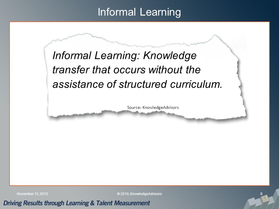 What Informal Learning is Supported.