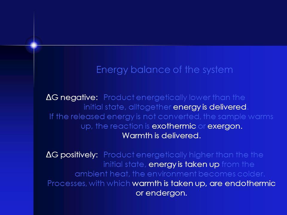 Δ G negative: Product energetically lower than the initial state, alltogether energy is delivered. If the released energy is not converted, the sample