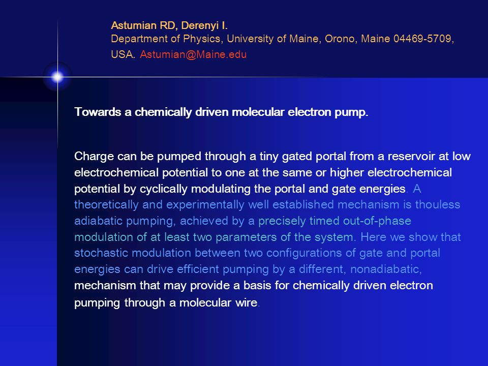 Towards a chemically driven molecular electron pump. Charge can be pumped through a tiny gated portal from a reservoir at low electrochemical potentia