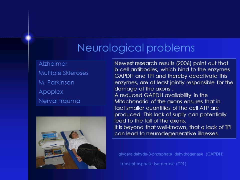 Neurological problems Alzheimer Multiple Skleroses M. Parkinson Apoplex Nerval trauma Newest research results (2006) point out that b-cell-antibodies,
