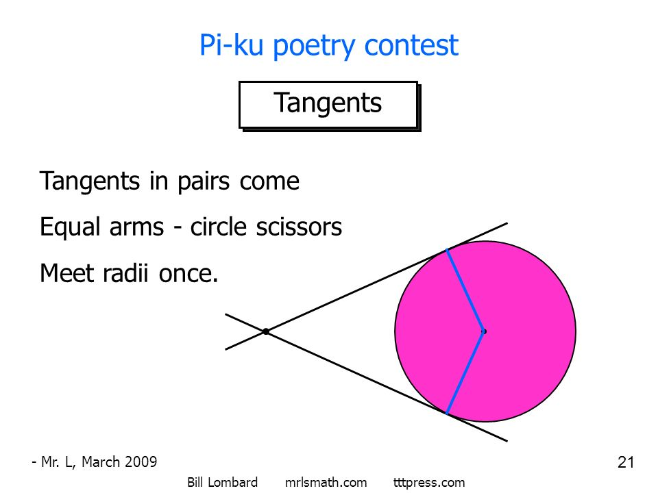 Bill Lombard mrlsmath.com tttpress.com 21 Pi-ku poetry contest Tangents - Mr. L, March 2009 Tangents in pairs come Equal arms - circle scissors Meet r