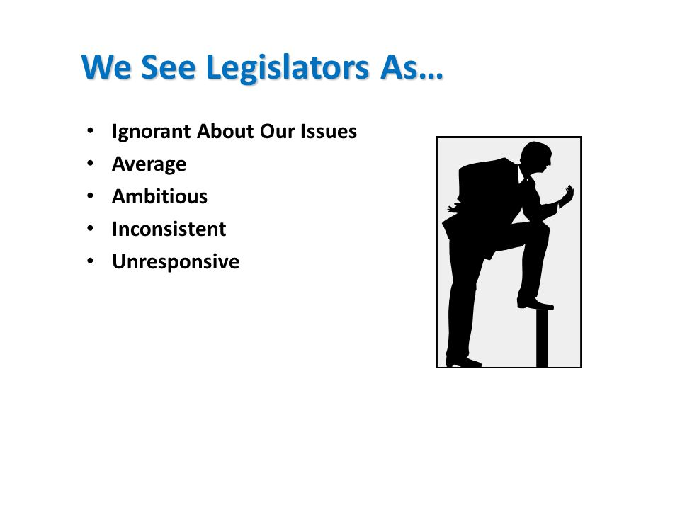 We See Legislators As… Ignorant About Our Issues Average Ambitious Inconsistent Unresponsive