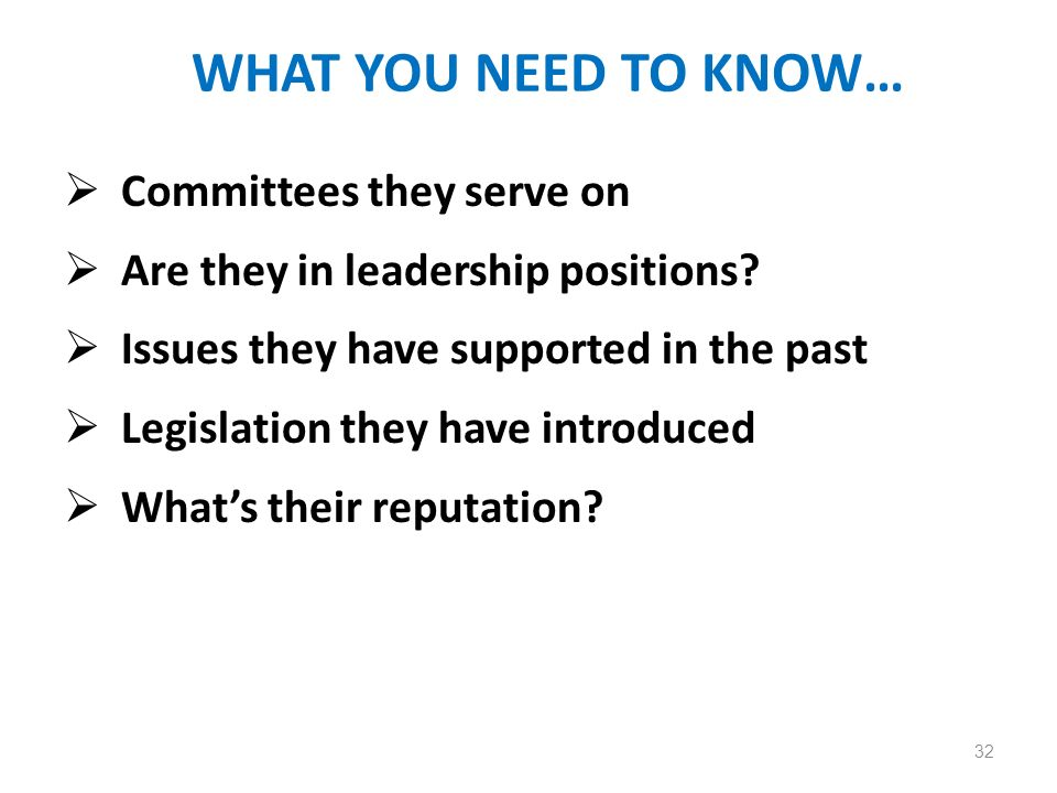 WHAT YOU NEED TO KNOW… Committees they serve on Are they in leadership positions.
