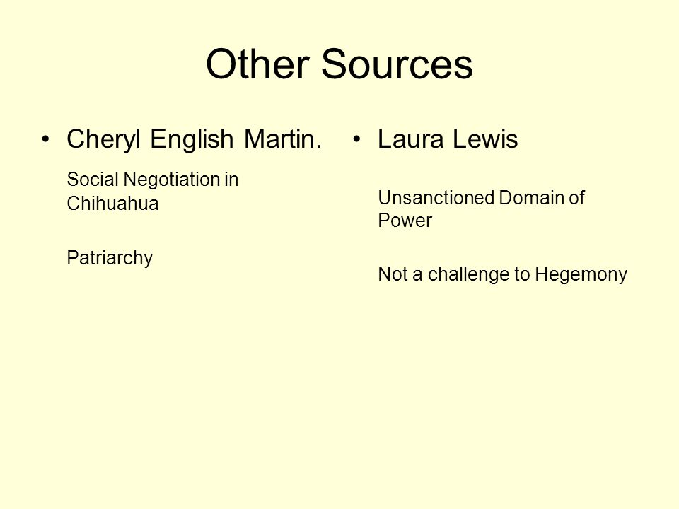 Other Sources Cheryl English Martin. Social Negotiation in Chihuahua Patriarchy Laura Lewis Unsanctioned Domain of Power Not a challenge to Hegemony