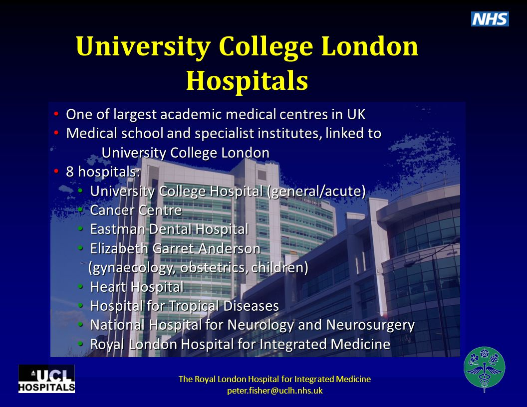 Dimensions of integration: information and education Education and training: integrated and hands-on Specialist advice NICE External Expert Panel Complementary and Alternative Medicine Library and Information Service (CAMLIS) Physical and online Royal London Hospital for Integrated Medicine