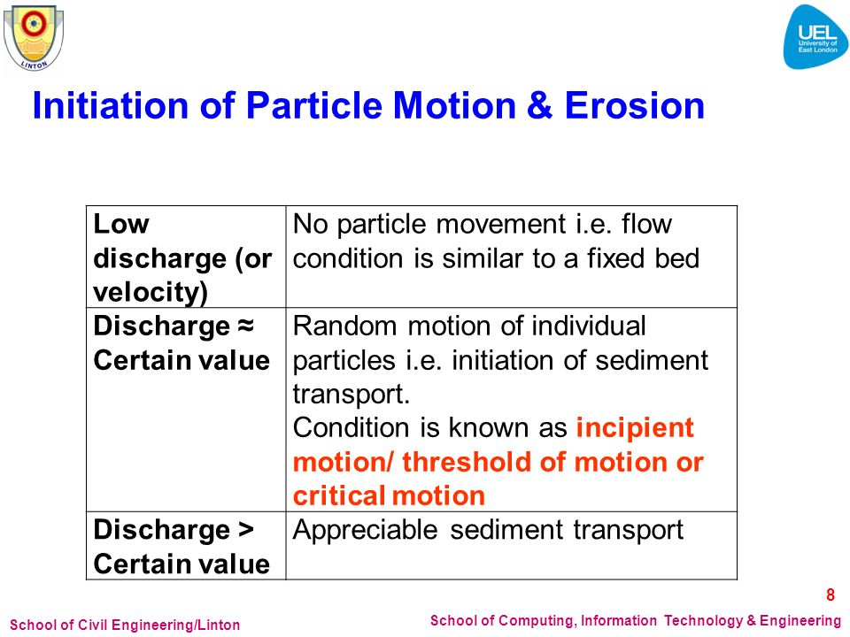 School of Civil Engineering/Linton School of Computing, Information Technology & Engineering Initiation of Particle Motion & Erosion Low discharge (or