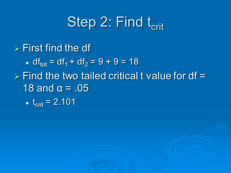 Step 2: Find t crit First find the df First find the df df tot = df 1 + df 2 = 9 + 9 = 18 df tot = df 1 + df 2 = 9 + 9 = 18 Find the two tailed critic