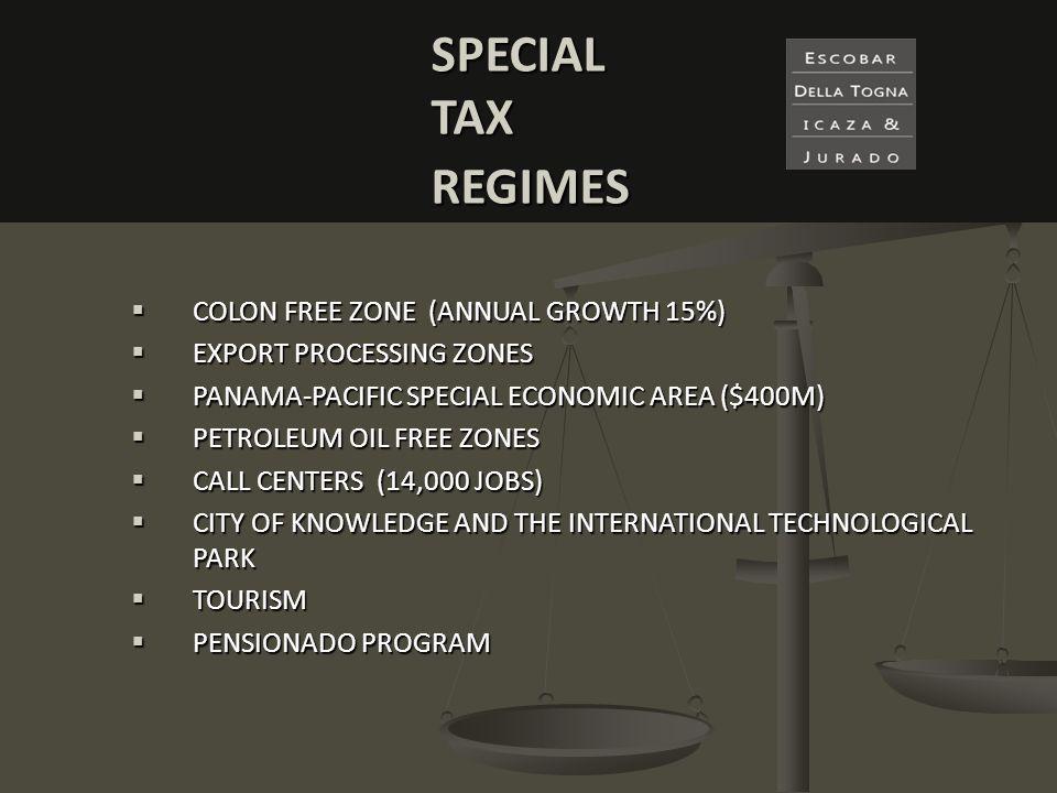 COLON COLON FREE ZONE (ANNUAL GROWTH 15%) EXPORT EXPORT PROCESSING ZONES PANAMA-PACIFIC PANAMA-PACIFIC SPECIAL ECONOMIC AREA ($400M) PETROLEUM PETROLE
