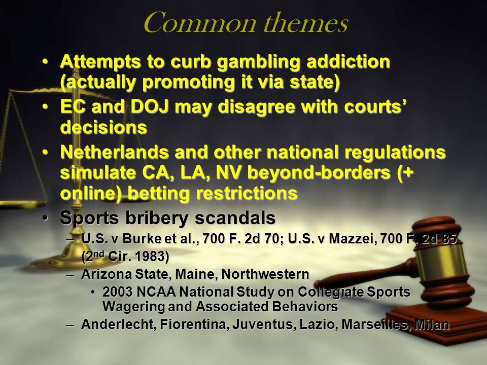 Common themes Attempts to curb gambling addiction (actually promoting it via state)Attempts to curb gambling addiction (actually promoting it via stat