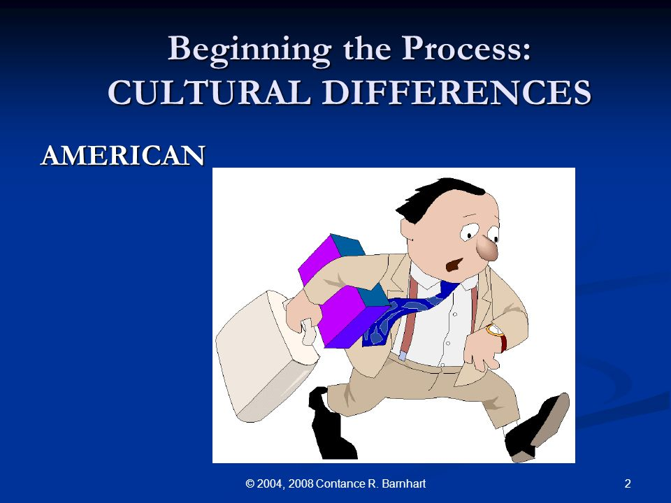 2© 2004, 2008 Contance R. Barnhart Beginning the Process: CULTURAL DIFFERENCES AMERICAN