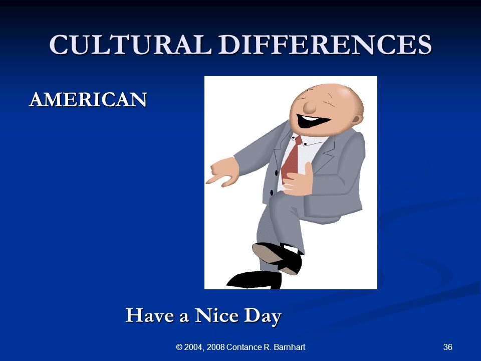 36© 2004, 2008 Contance R. Barnhart CULTURAL DIFFERENCES AMERICAN Have a Nice Day