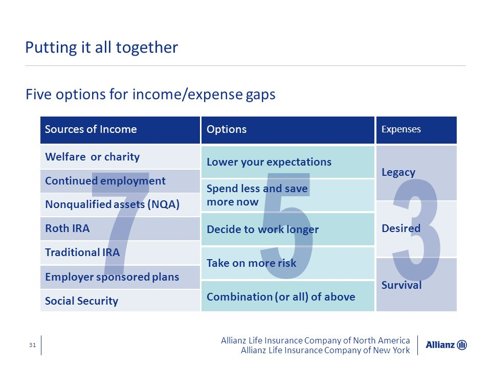 Allianz Life Insurance Company of North America Allianz Life Insurance Company of New York 31 Putting it all together Five options for income/expense