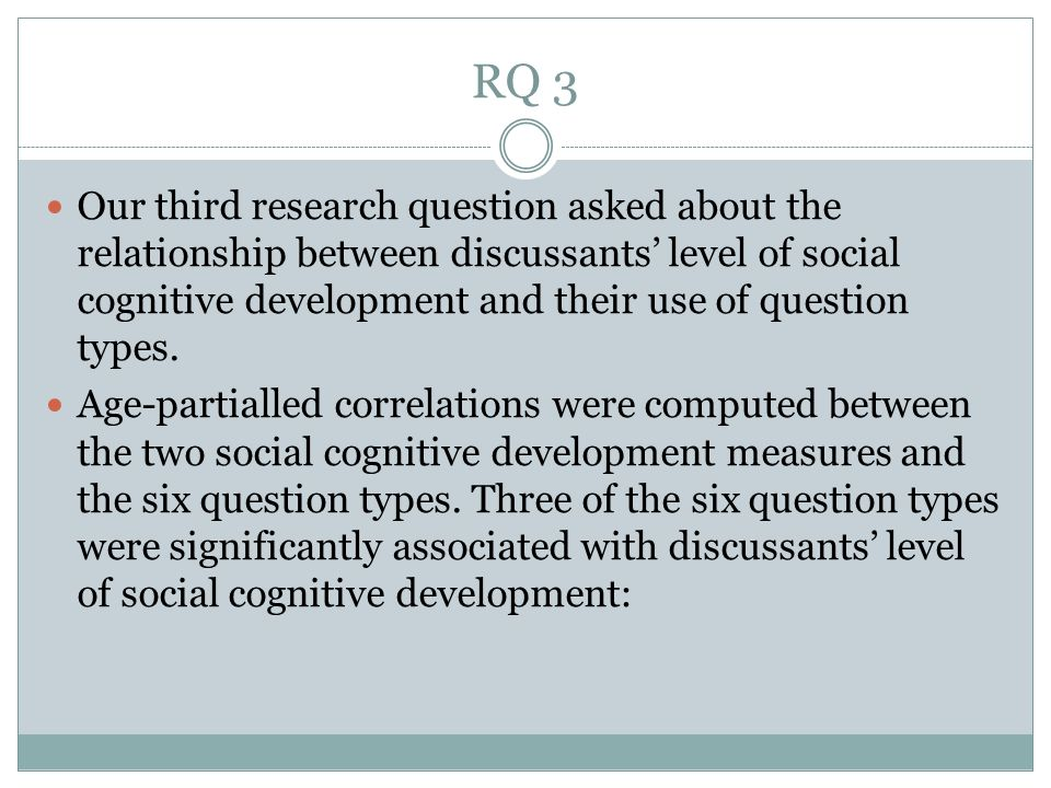 RQ 3 Our third research question asked about the relationship between discussants level of social cognitive development and their use of question types.