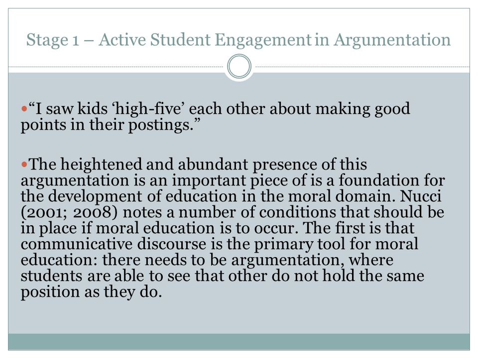 Stage 1 – Active Student Engagement in Argumentation I saw kids high-five each other about making good points in their postings.
