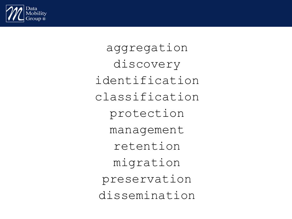 aggregation discovery identification classification protection management retention migration preservation dissemination