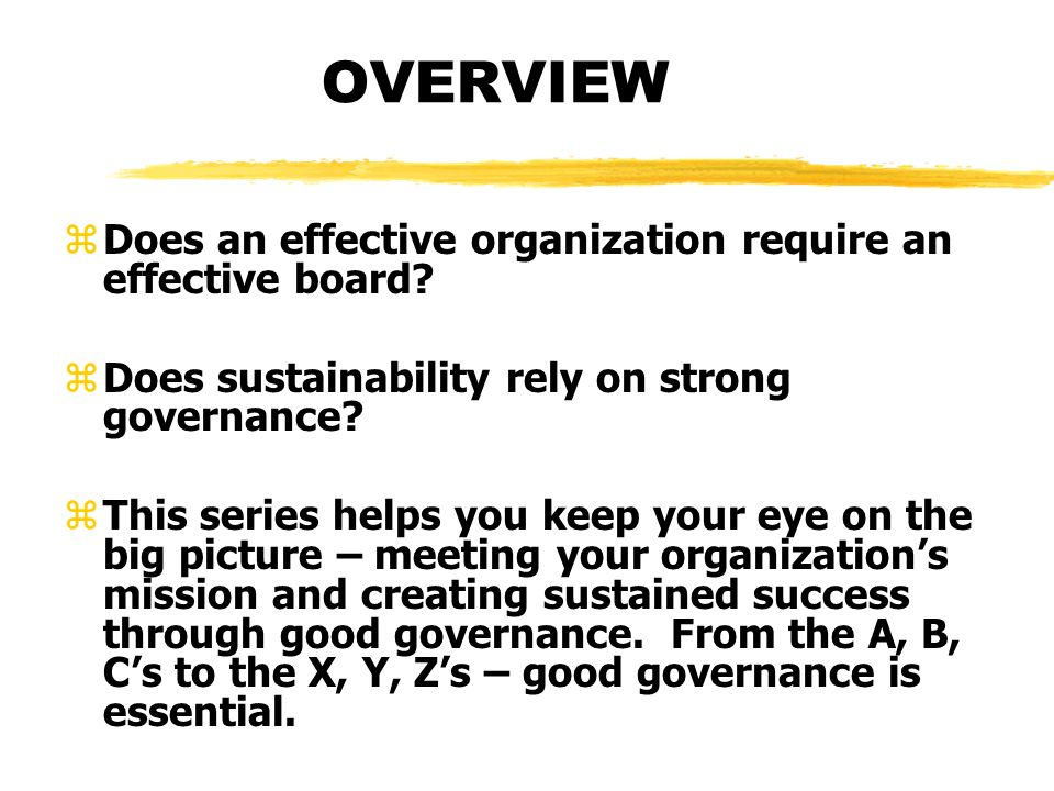OVERVIEW zDoes an effective organization require an effective board? zDoes sustainability rely on strong governance? zThis series helps you keep your