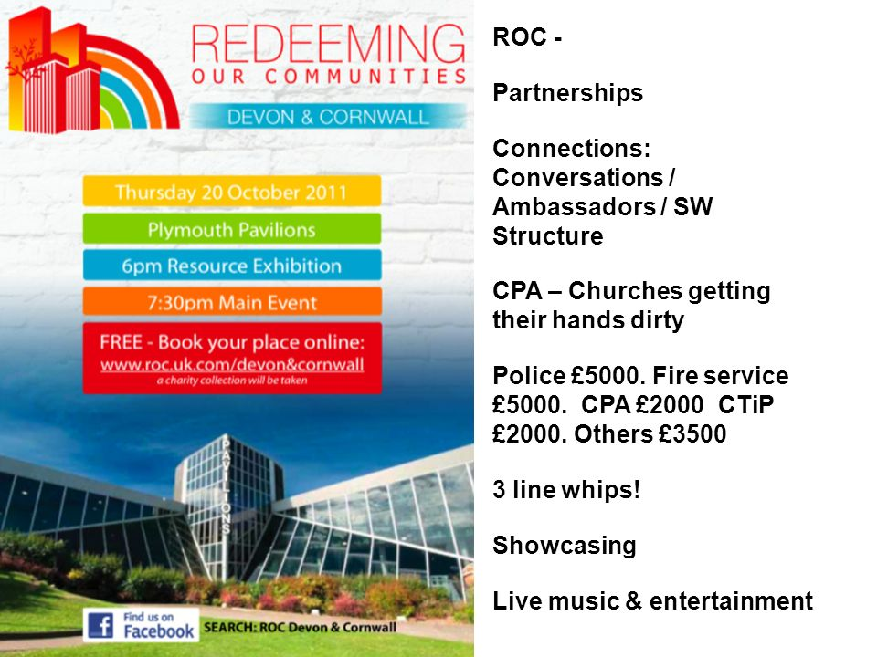 ROC - Partnerships Connections: Conversations / Ambassadors / SW Structure CPA – Churches getting their hands dirty Police £5000. Fire service £5000.