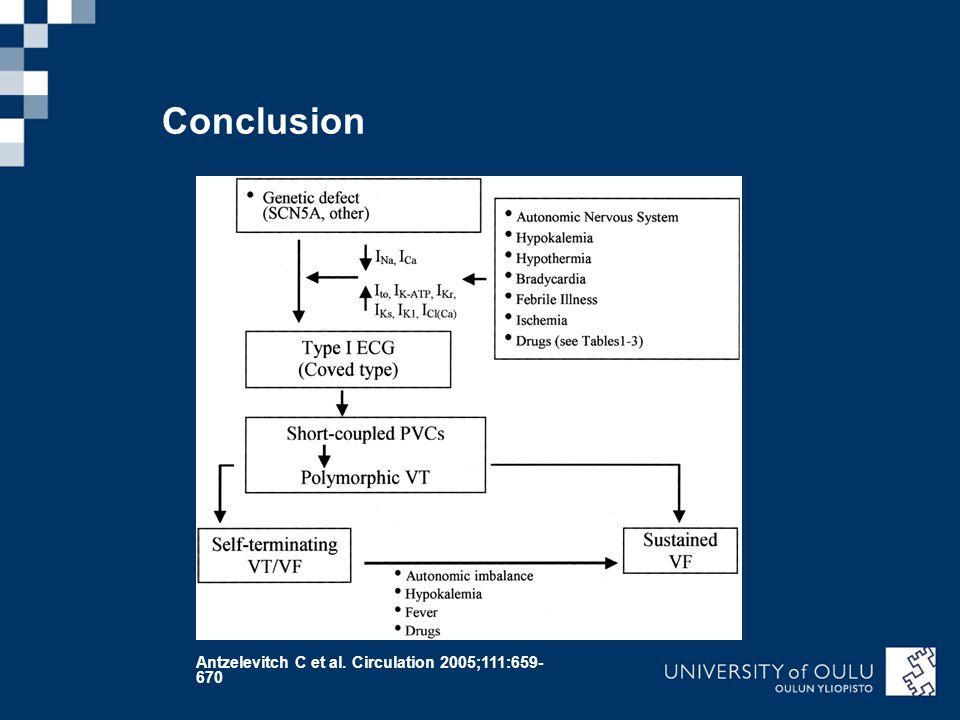Conclusion Antzelevitch C et al. Circulation 2005;111:659- 670