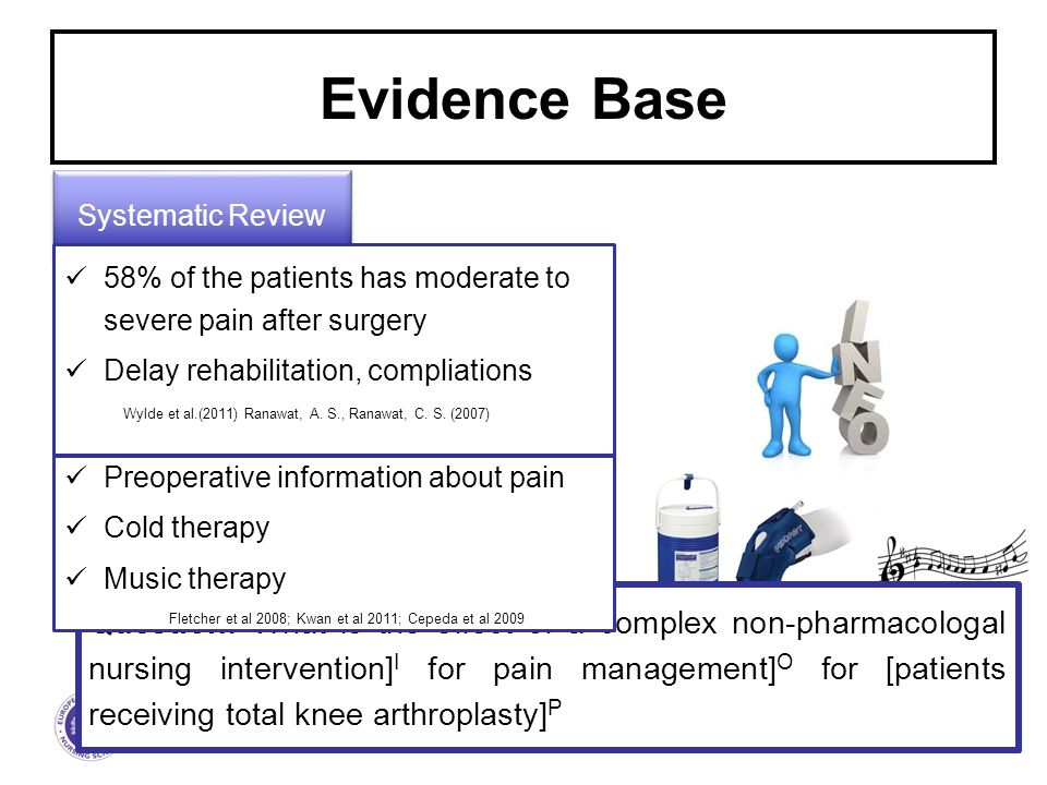 The European Academy of Nursing Science 2 Evidence Base Systematic Review 58% of the patients has moderate to severe pain after surgery Delay rehabilitation, compliations Wylde et al.(2011) Ranawat, A.